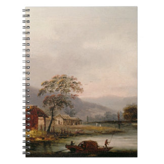 Figures Guiding a Sampan Round a Bend in a River, Spiral Notebook