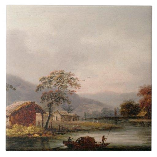 Figures Guiding a Sampan Round a Bend in a River, Tile