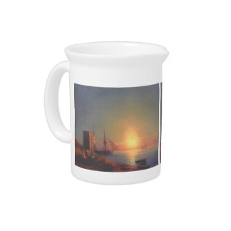 Figures In A Coastal Landscape by Ivan Aivazovsky Beverage Pitchers