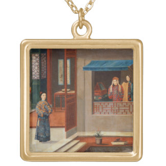 Figures in a dressing room interior gold plated necklace
