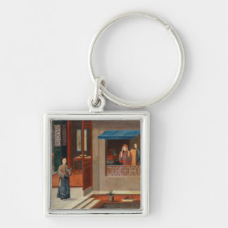 Figures in a dressing room interior keychain
