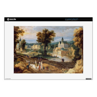 """Figures in a landscape with village and castle bey 15"""" laptop skin"""