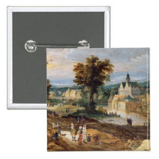 Figures in a landscape with village and castle bey button