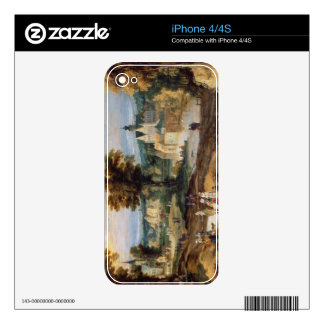 Figures in a landscape with village and castle bey decal for iPhone 4