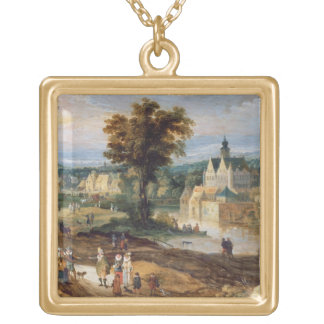 Figures in a landscape with village and castle bey gold plated necklace