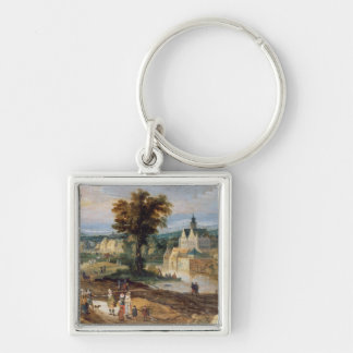 Figures in a landscape with village and castle bey keychain