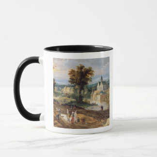 Figures in a landscape with village and castle bey mug
