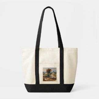 Figures in a landscape with village and castle bey tote bag