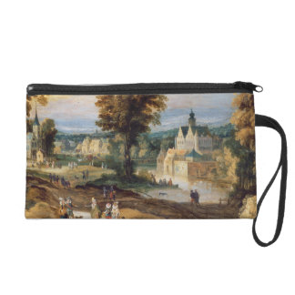 Figures in a landscape with village and castle bey wristlet purse