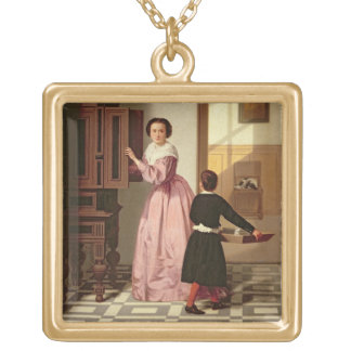 Figures in a Laundryroom, 1864 (oil on canvas) Gold Plated Necklace