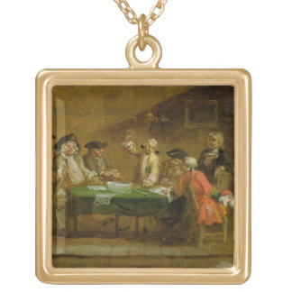 Figures in a Tavern or Coffee House, 1720s (oil on Gold Plated Necklace