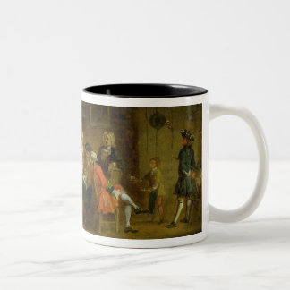 Figures in a Tavern or Coffee House, 1720s (oil on Two-Tone Coffee Mug