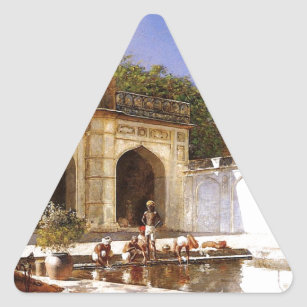 Figures in the Courtyard of a Mosque by Edwin Lord Triangle Sticker
