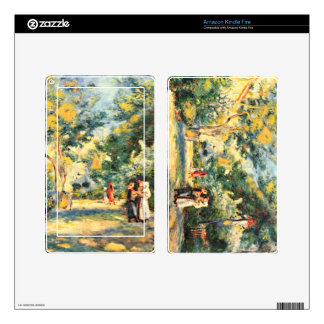 Figures in the garden by Pierre Renoir Decal For Kindle Fire