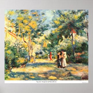 Figures in the garden by Pierre Renoir Posters