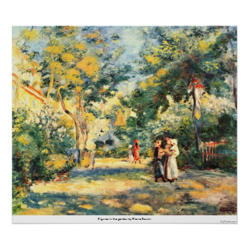 Figures in the garden by Pierre Renoir Posters