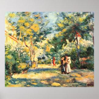 Figures in the garden by Pierre Renoir Poster