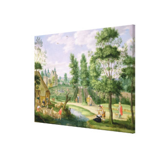 Figures in the Grounds of a Country House Canvas Print