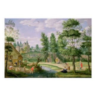 Figures in the Grounds of a Country House Poster