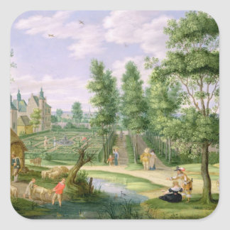 Figures in the Grounds of a Country House Square Sticker