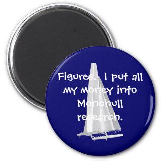 Figures-Money in monohulls. SFO AC Senior Sailors 2 Inch Round Magnet