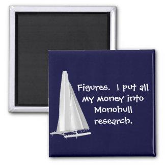 Figures-Money in monohulls. SFO AC Senior Sailors 2 Inch Square Magnet
