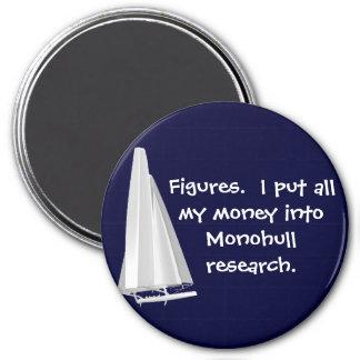 Figures-Money in monohulls. SFO AC Senior Sailors 3 Inch Round Magnet