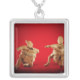 Figures of ceremonial ballplayers silver plated necklace