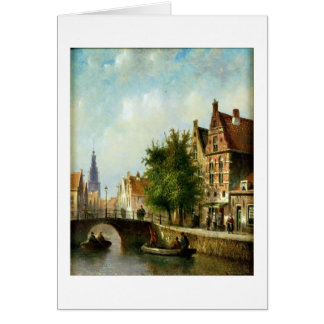Figures on a Canal, Amsterdam (oil on panel) Greeting Card