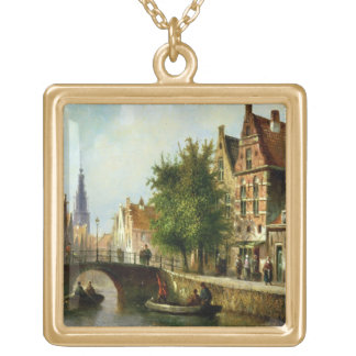 Figures on a Canal, Amsterdam (oil on panel) Gold Plated Necklace