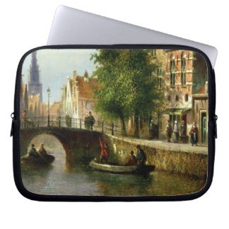 Figures on a Canal, Amsterdam (oil on panel) Laptop Computer Sleeves