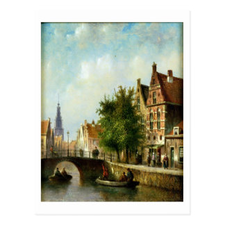 Figures on a Canal, Amsterdam (oil on panel) Postcard
