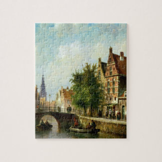 Figures on a Canal, Amsterdam (oil on panel) Jigsaw Puzzle