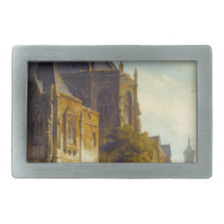 Figures on a Market Square in a Dutch Town Rectangular Belt Buckle