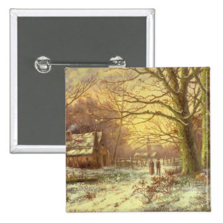Figures on a path before a village in winter pinback button