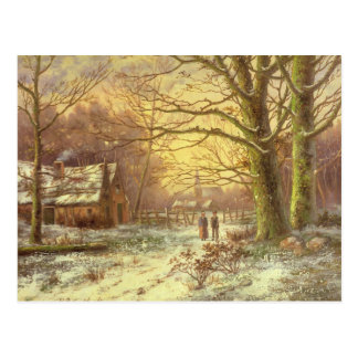 Figures on a path before a village in winter postcard