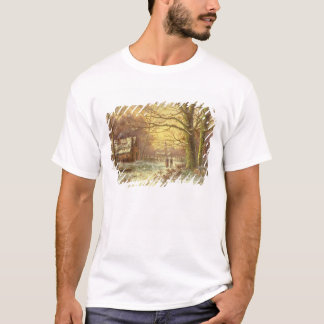 Figures on a path before a village in winter T-Shirt