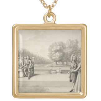 Figures on the bank of the Long Water, Hampton Cou Gold Plated Necklace