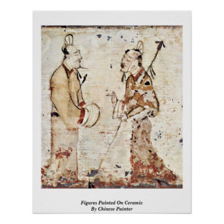 Figures Painted On Ceramic By Chinese Painter Print