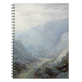 Figures Resting On The Pathway Through A Rocky Gor Notebook