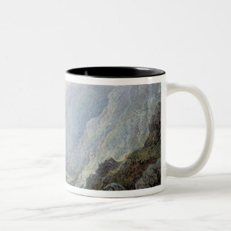 Figures Resting On The Pathway Through A Rocky Gor Two-Tone Coffee Mug