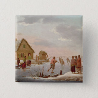 Figures Skating in a Winter Landscape Button