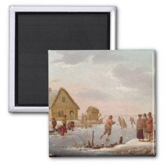 Figures Skating in a Winter Landscape Magnet