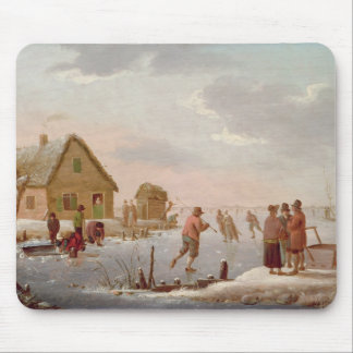 Figures Skating in a Winter Landscape Mouse Pad