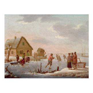 Figures Skating in a Winter Landscape Postcard
