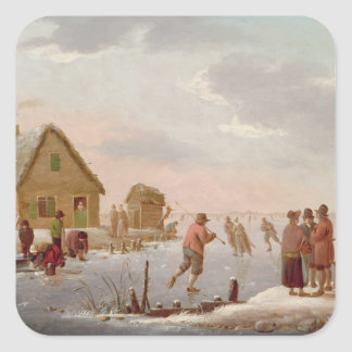 Figures Skating in a Winter Landscape Square Sticker