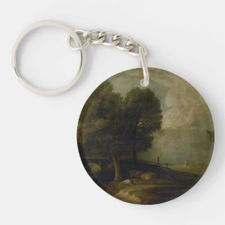 Figures with Cattle by Thomas Gainsborough Single-Sided Round Acrylic Keychain