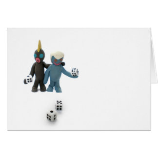 figures with dice greeting cards