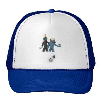figures with dice trucker hats