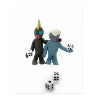 figures with dice post card
